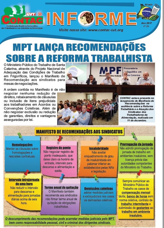 MPT lança recomendações sobre reforma trabalhista para o setor da alimentação
