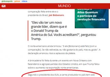 Trump comemora um dos resultado da Lava Jato: Americanos voltam a vender carne ao Brasil depois de 15 anos